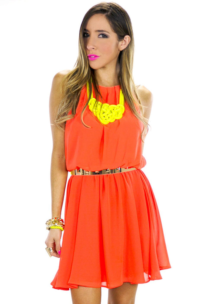 NEON HIGH NECKLINE PLEATED DRESS