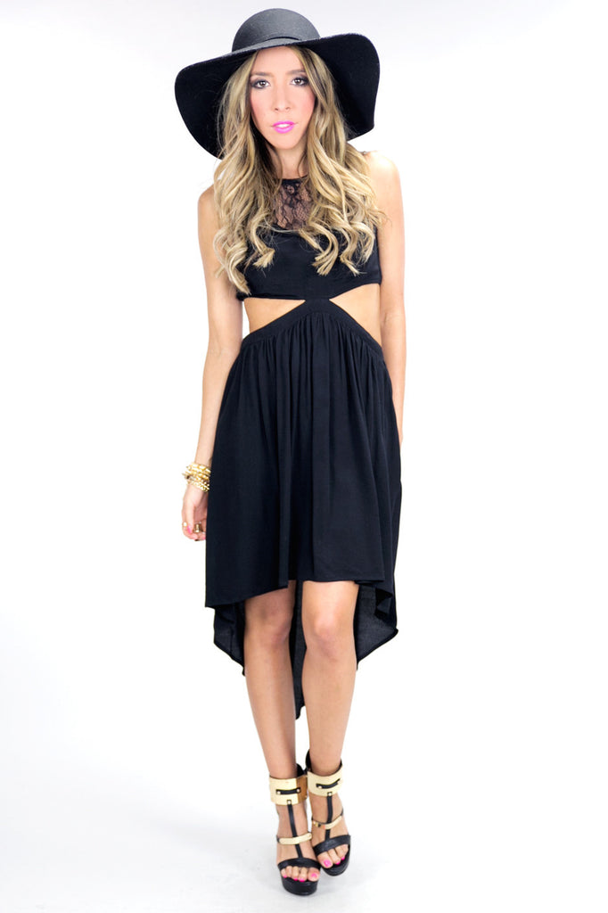WAIST CUTOUT LACE CONTRAST HIGH-LOW DRESS