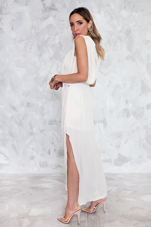 Chiffon Midi Dress with Slit