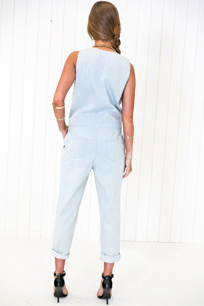 Maison Bleach Washed Denim Overall