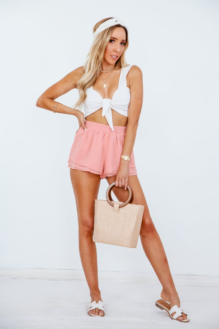 Chiffon Shorts with Ruffles - Blush