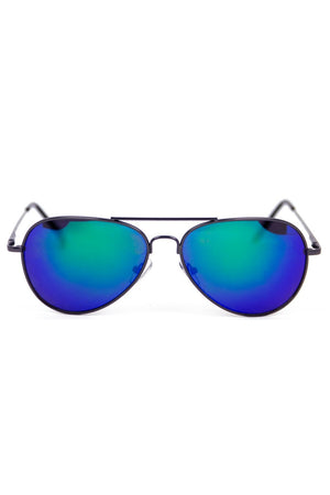 METALLIC TINT LENS AVIATOR - Black/Blue - Haute & Rebellious