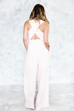Jumpsuit with Cross Back - Peach