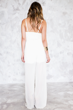Chiffon Jumpsuit with Lace Detail