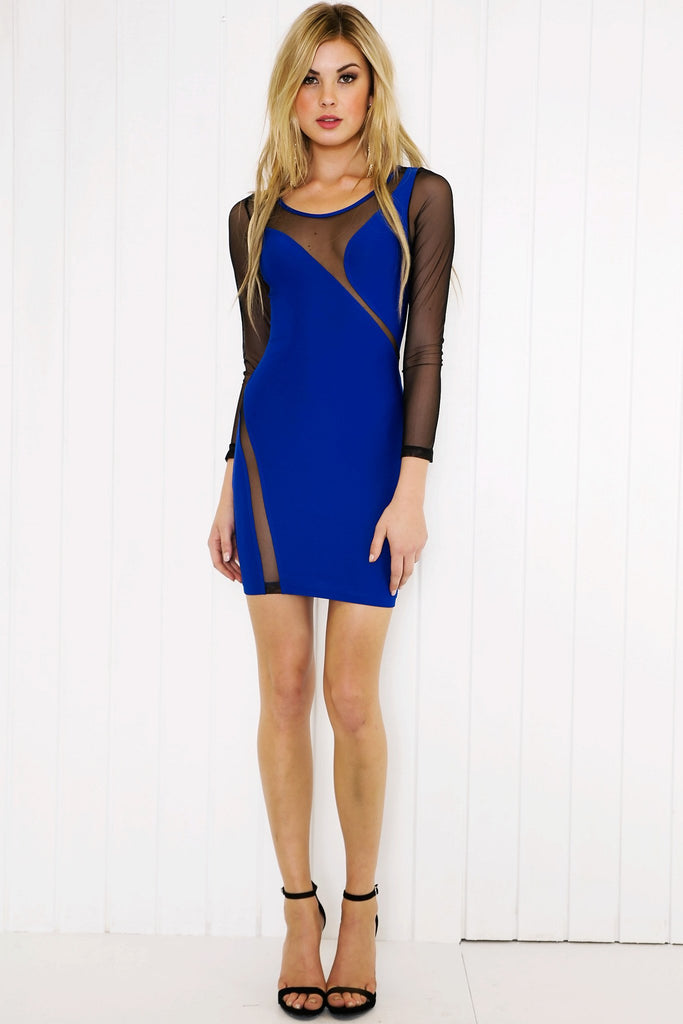 Lana Mesh Detail Mini Dress - Blue