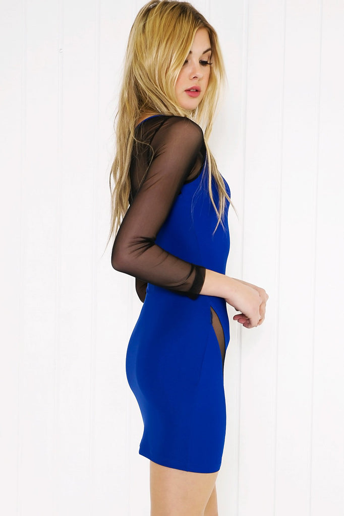Lana Mesh Detail Mini Dress - Blue - Haute & Rebellious
