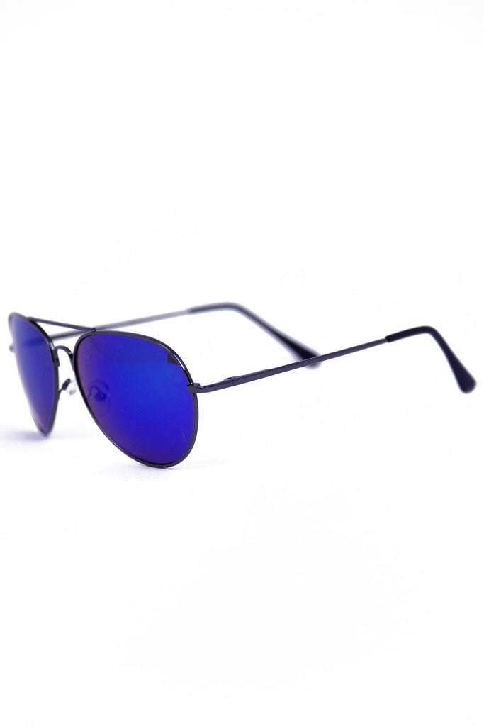 METALLIC TINT LENS AVIATOR - Black/Blue