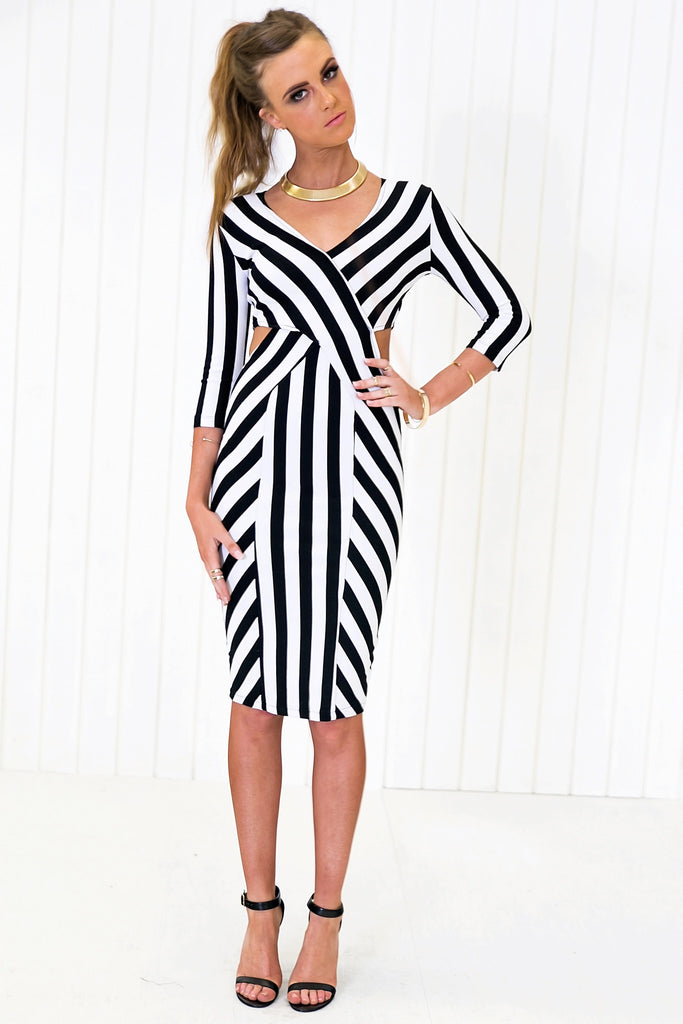 Raquel Striped Body-Con Midi Dress