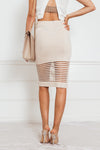 Contrast Woven Pencil Skirt - Tan