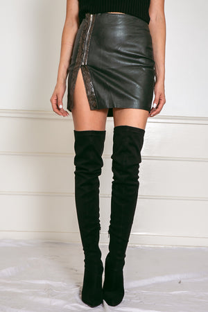 Snake Vegan Leather Mini Skirt - Olive