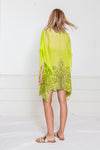 Embellished Beach Cover-Up Tunic - Lime