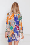 Print Embellished Beach Cover-Up Tunic - Blue