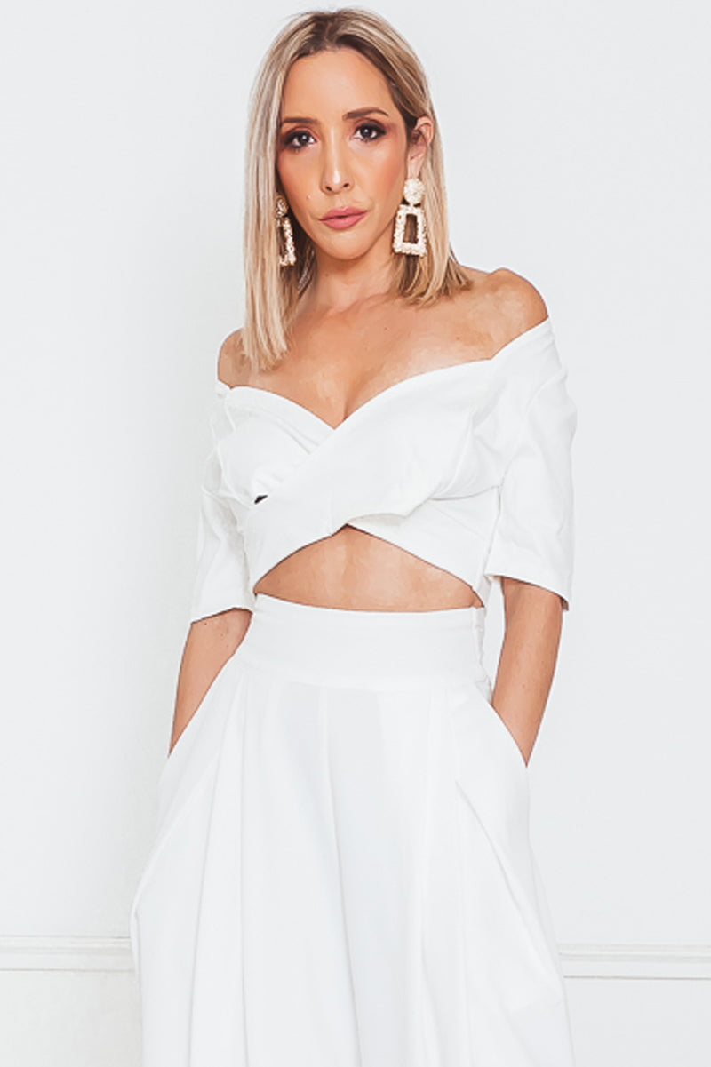 Cross Strap Crop Top - White