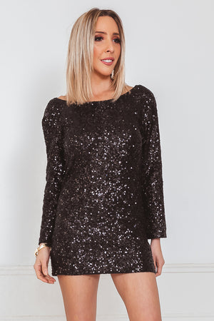 Long Sleeve Sequin Bodycon Dress - Black