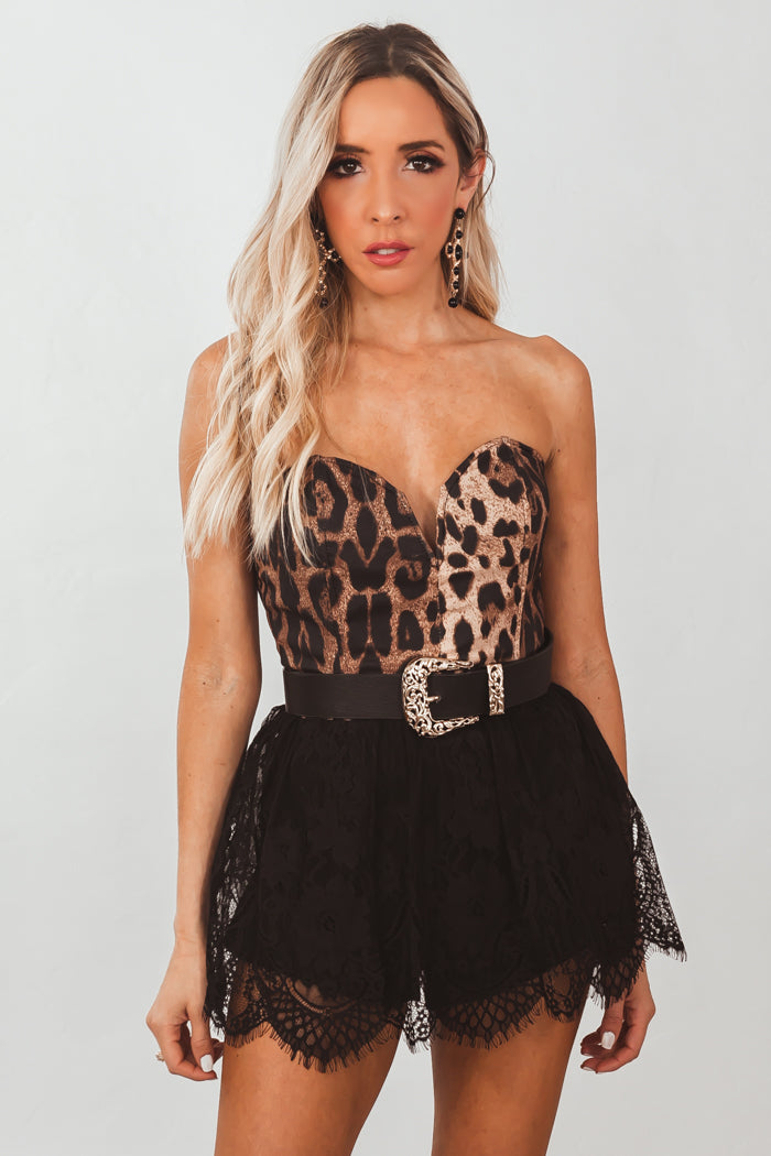 Leopard Print Bustier Romper with Lace