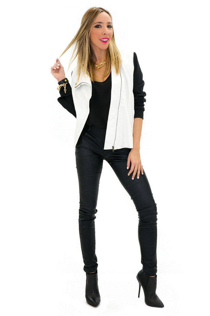 BRIN LEATHER CONTRAST MOTO JACKET - White - Haute & Rebellious