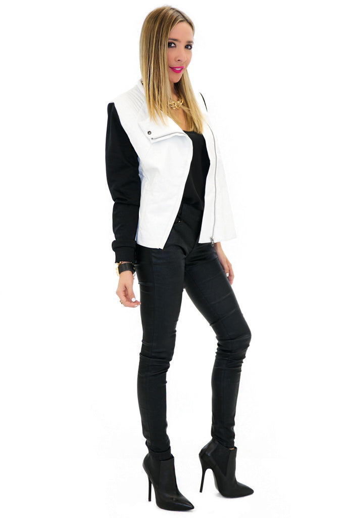 BRIN LEATHER CONTRAST MOTO JACKET - White