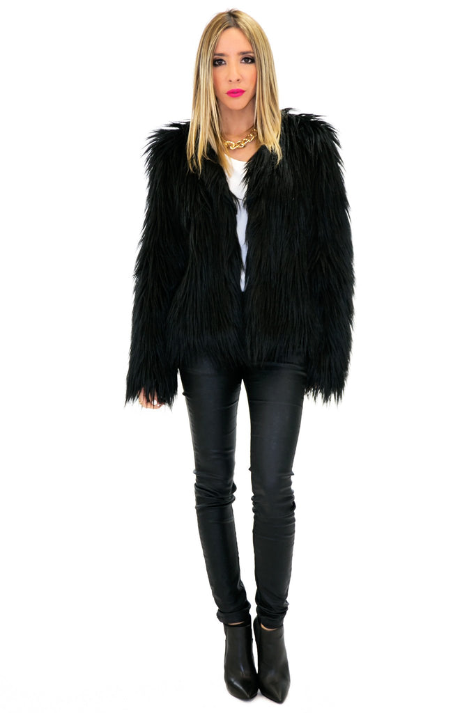 MONCLER FUR COAT - Black