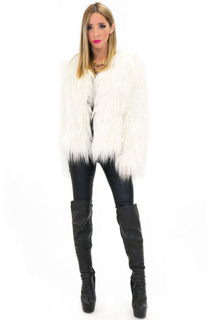 MONCLER FUR COAT - White - Haute & Rebellious