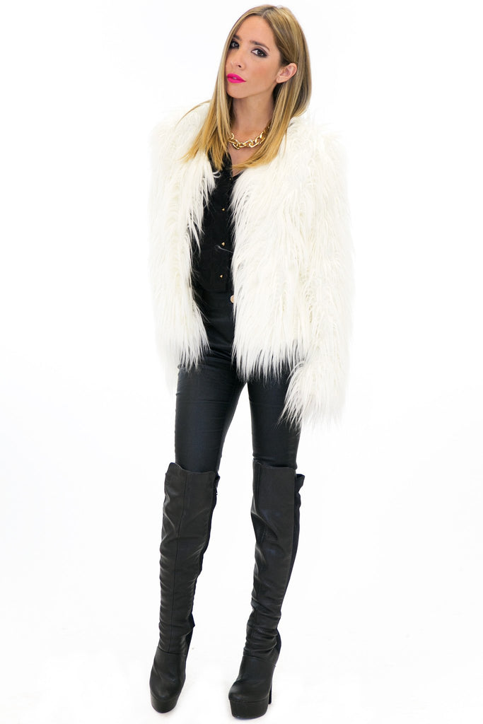 MONCLER FUR COAT - White