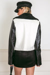 Leather Moto Jacket with Contrast Sleeve