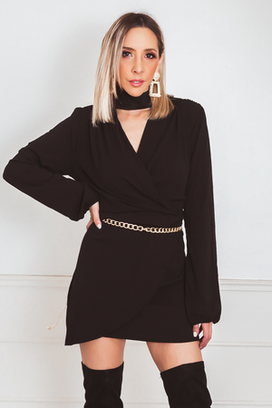Wrap Long Sleeve Mini Dress with Cutout V-Neck