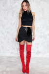 Mini Skirt with Patent Leather Contrast
