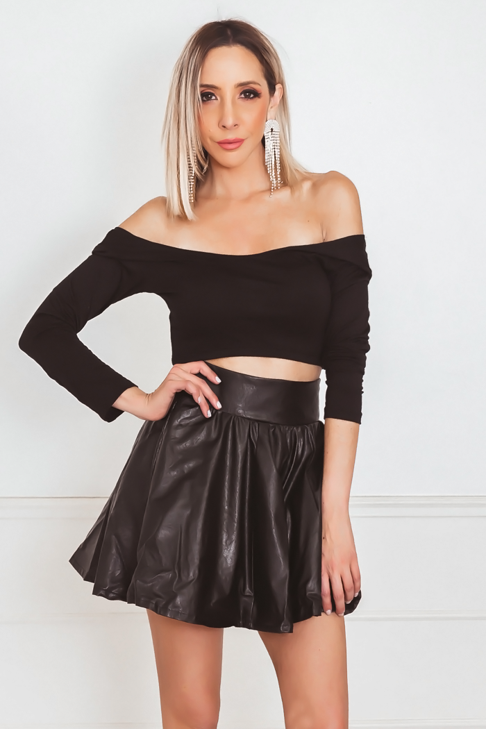 Long Sleeve Crop Tee - Black