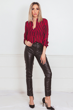 Striped Chiffon Button-Up Blouse - Red
