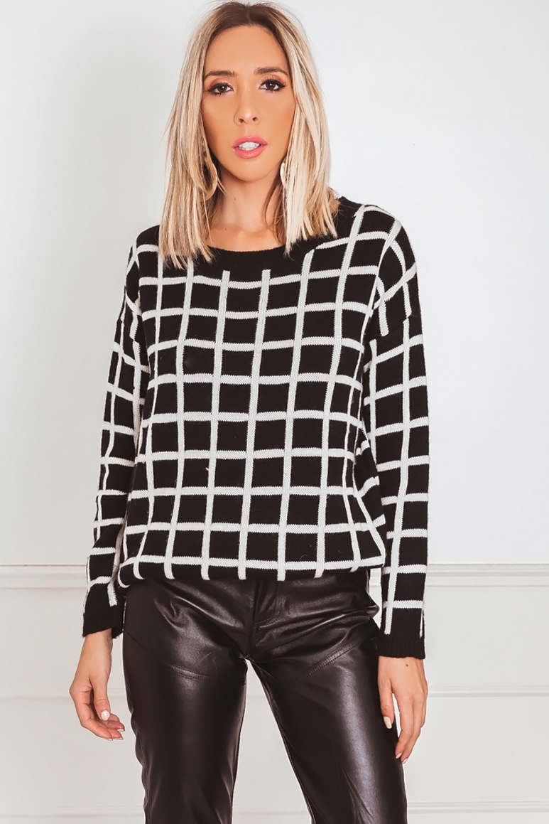 Checkered Knit Sweater