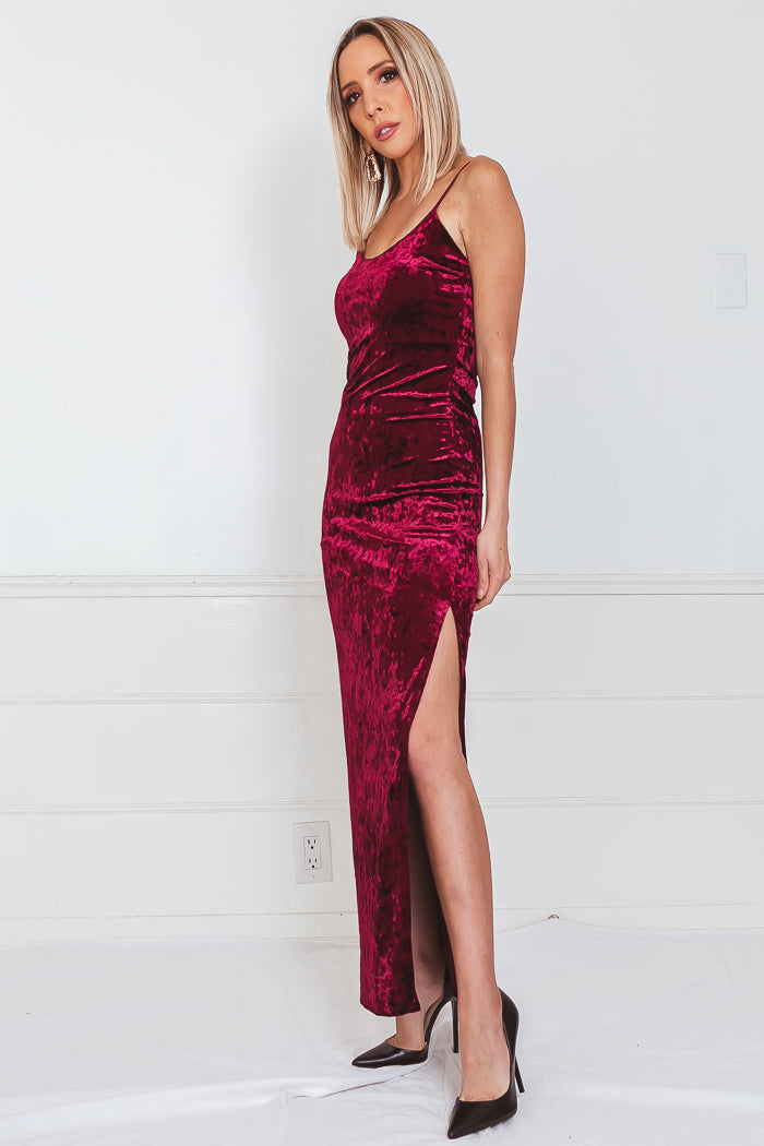 Crushed Velvet Maxi Dress with Slit