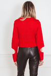 Knit Sweater with Cutout Sleeve Detail - Red