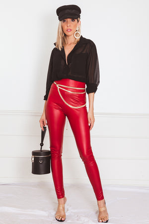 High-Waisted Leather Leggings - Red