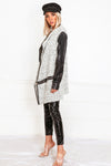 Contrast Leather Sleeve Coat