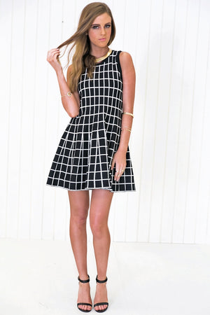 Adelle Checkered Fit-&-Flair Dress - Haute & Rebellious
