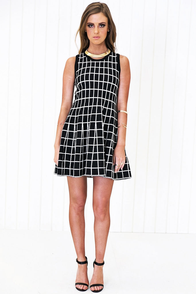 Adelle Checkered Fit-&-Flair Dress