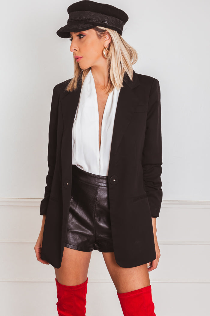 One-Button Blazer with Rouched Sleeve - Black