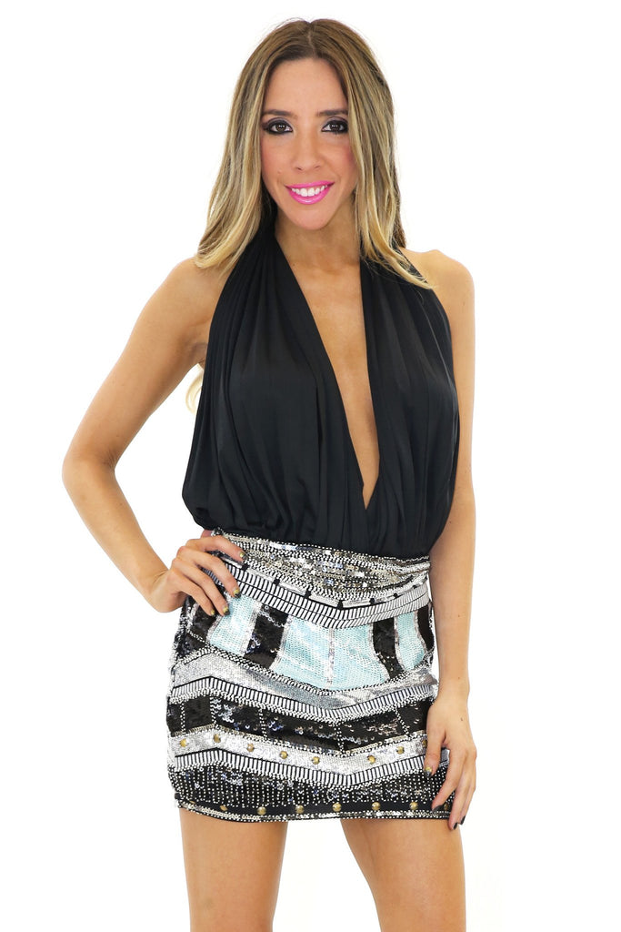 KARLA SEQUIN MINI SKIRT - Black
