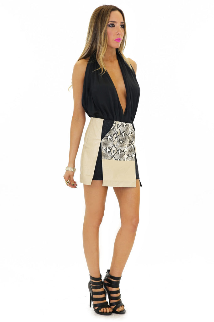 BRIXIN VEGAN LEATHER SNAKESKIN SKIRT
