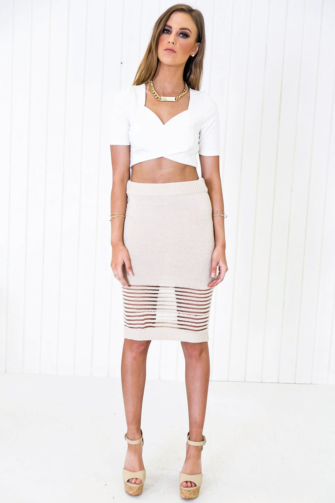 Bretton Cross Crop Top - White