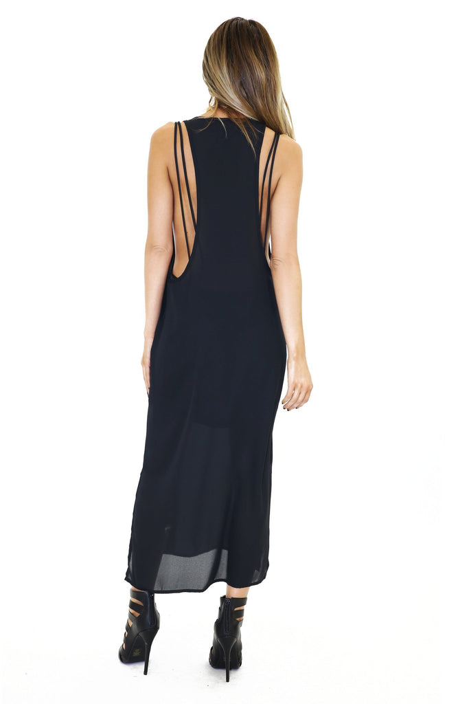 HANA CHIFFON MAXI DRESS - Black