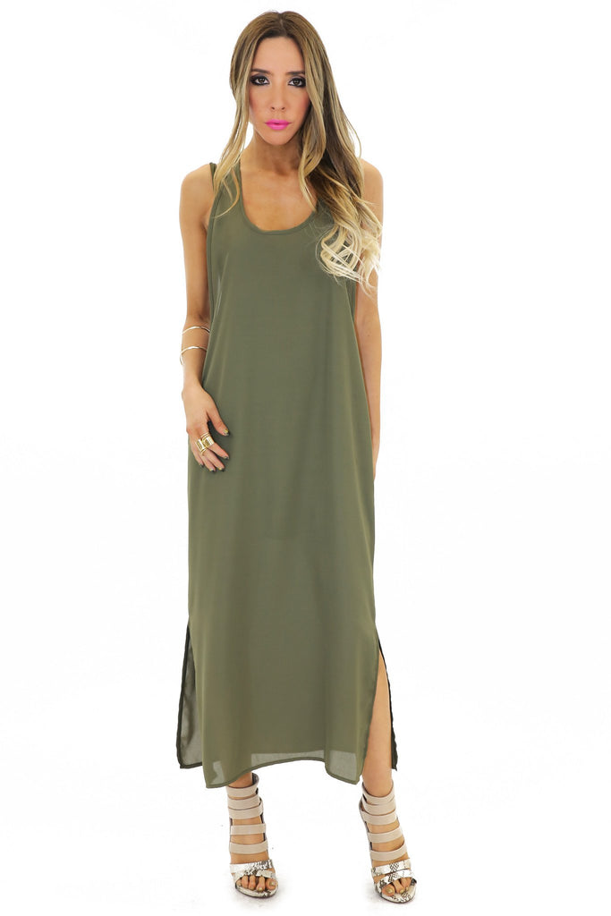 HANA CHIFFON MAXI DRESS - Olive