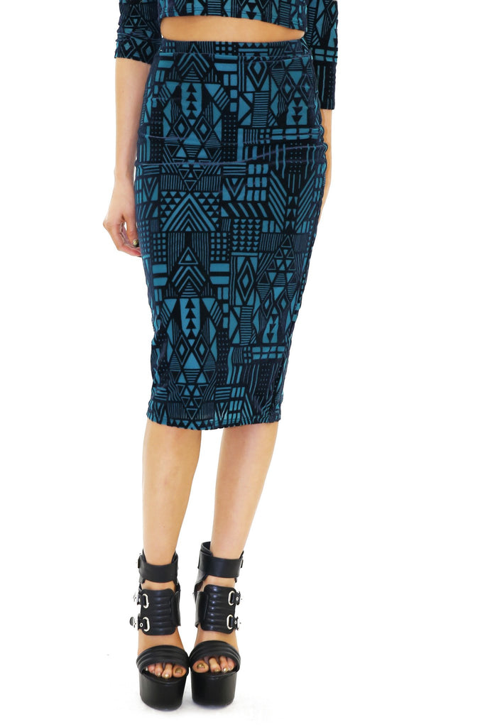 JENEL GEO VELVET PENCIL SKIRT