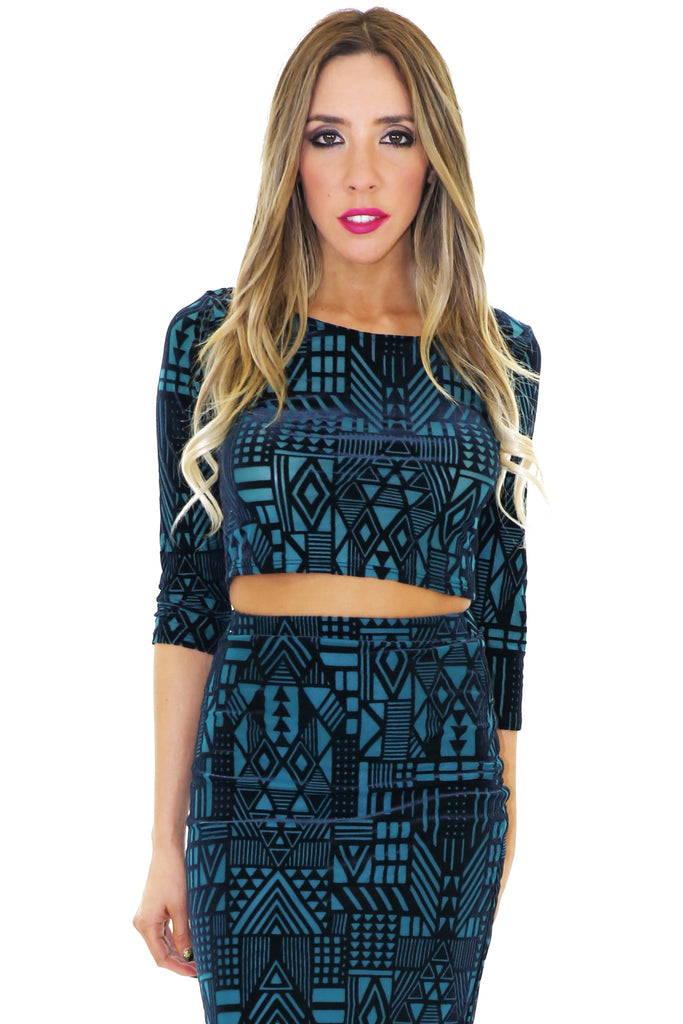JENEL GEO VELVET CROP TOP