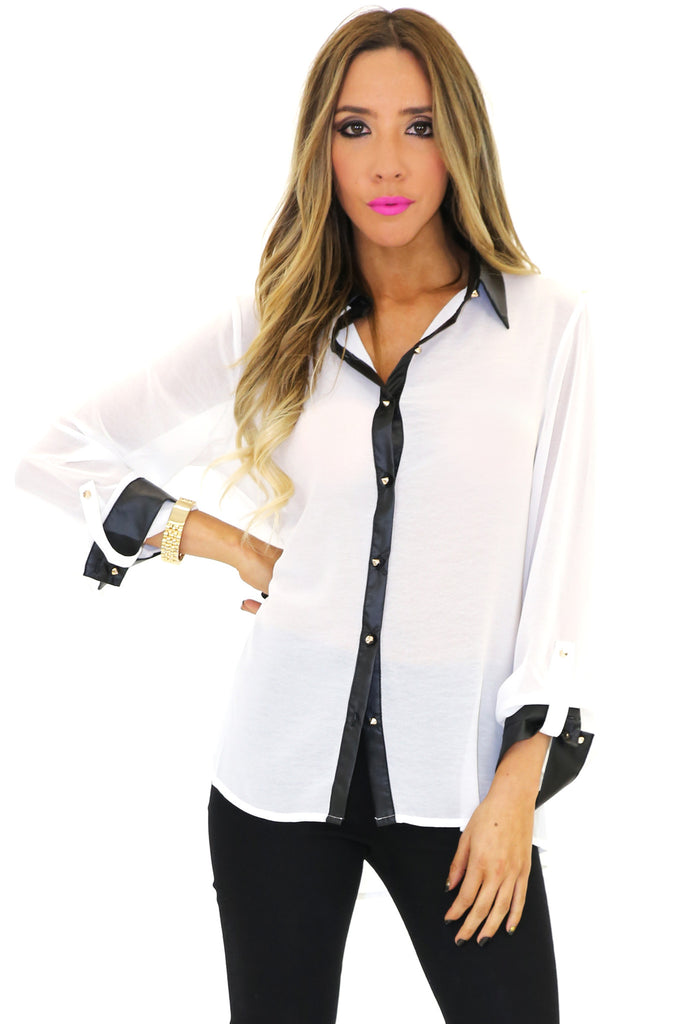 VINCE VEGAN LEATHER COLLAR CHIFFON BLOUSE - White
