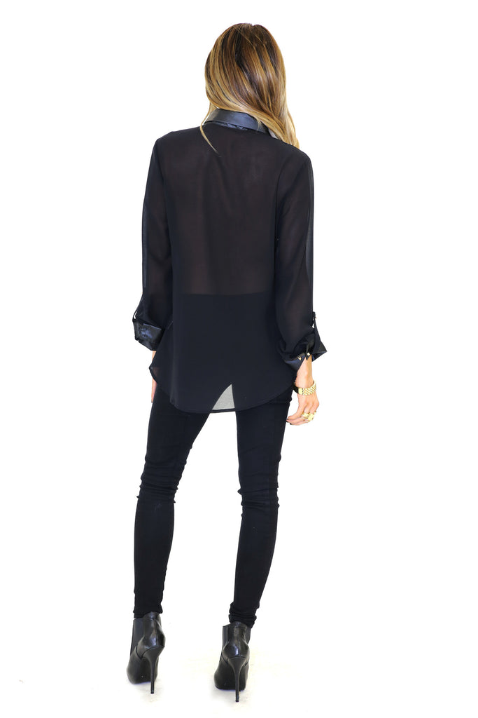 VINCE VEGAN LEATHER COLLAR CHIFFON BLOUSE - Black