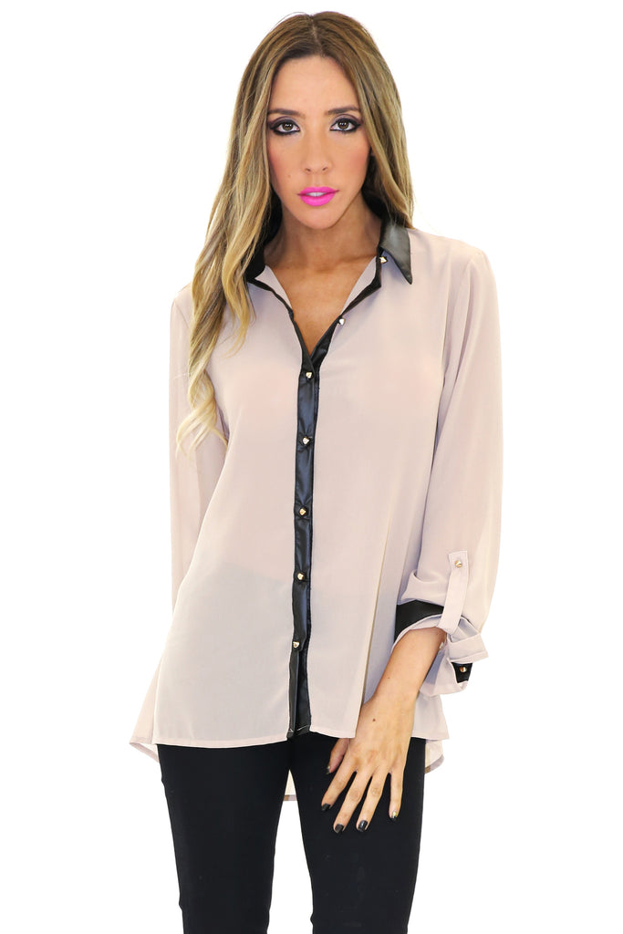 VINCE VEGAN LEATHER COLLAR CHIFFON BLOUSE - Taupe