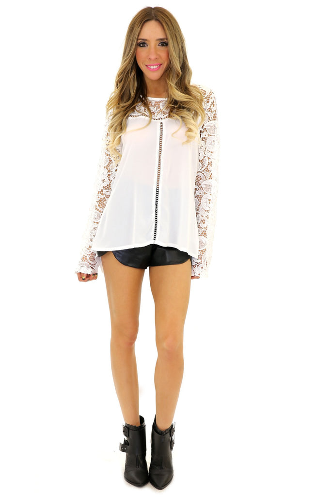 HELENA LACE CONTRAST LONG SLEEVE TOP - White