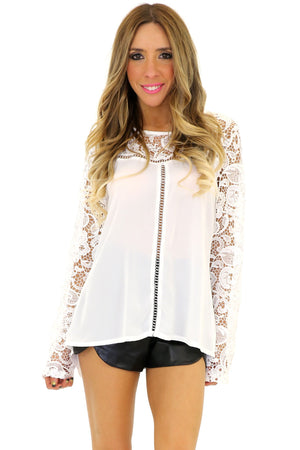 HELENA LACE CONTRAST LONG SLEEVE TOP - White - Haute & Rebellious