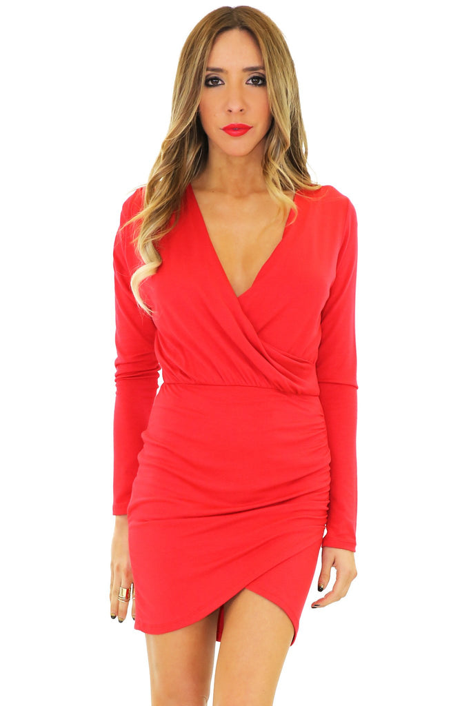 JANE DRAPED DRESS - Red